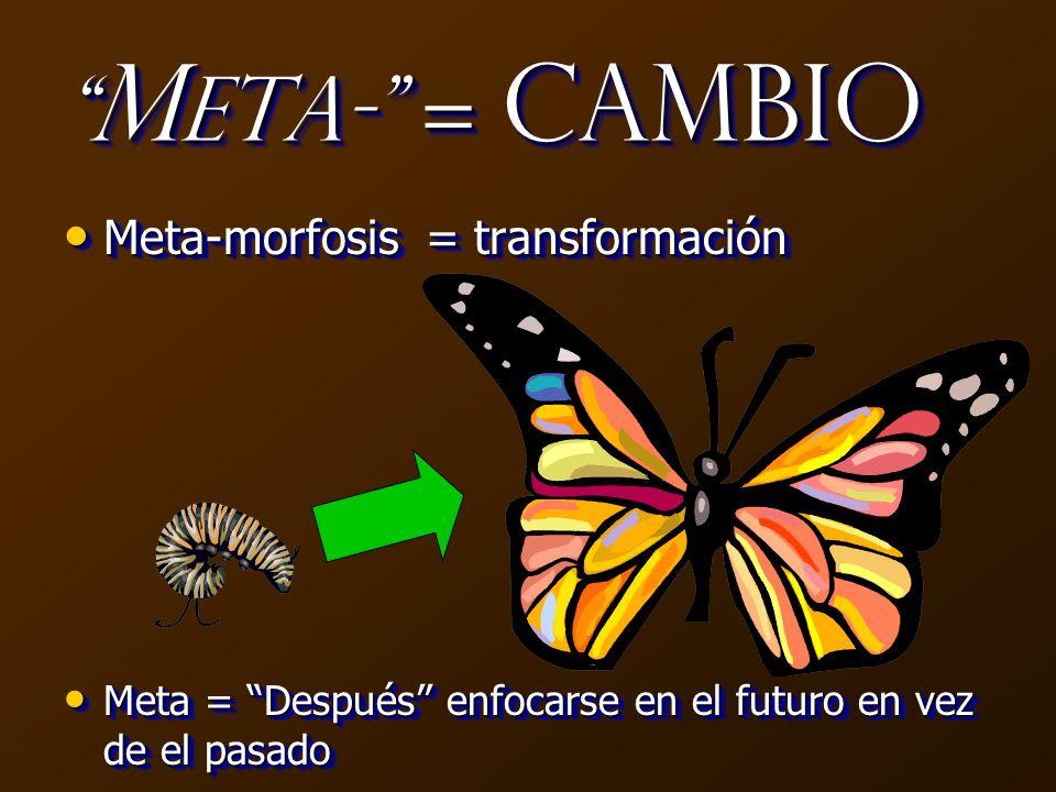 Meta- = Cambio Meta-morfosis = transformación