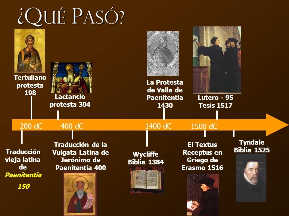 ¿Qué Pasó 200 dC 400 dC 1400 dC 1500 dC Tertuliano protesta 198