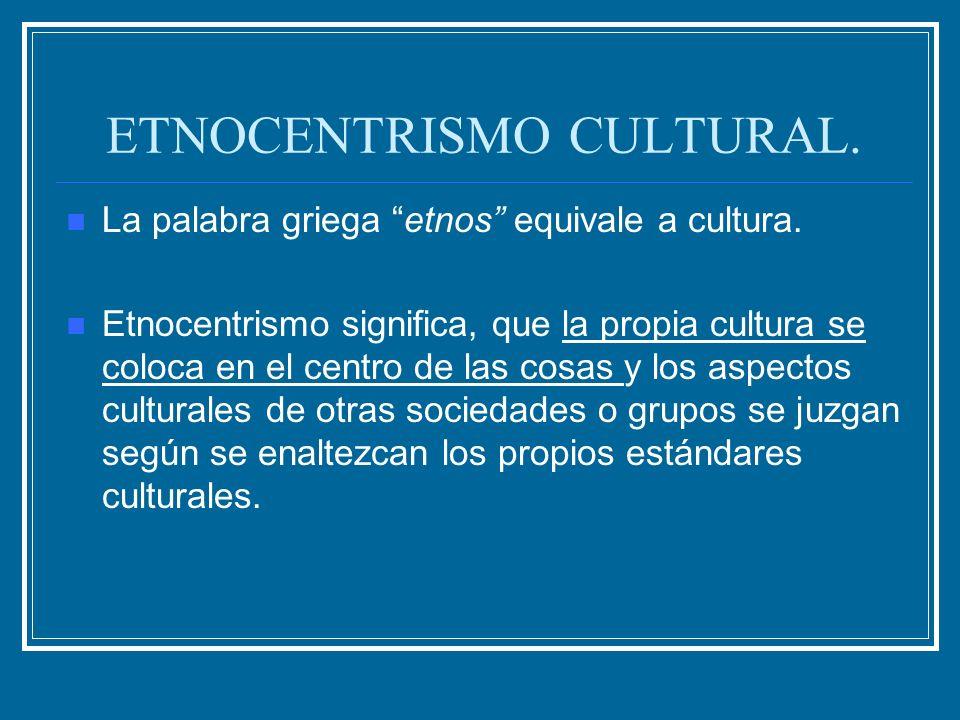 ETNOCENTRISMO CULTURAL.