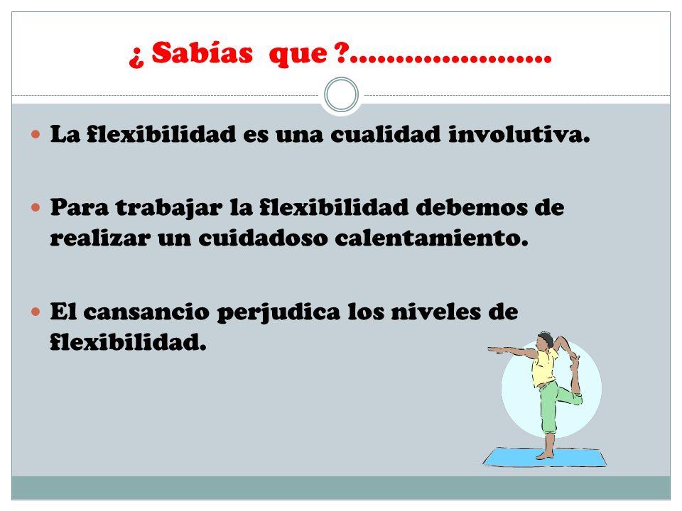 ¿ Sabías que ...................... La flexibilidad es una cualidad involutiva.