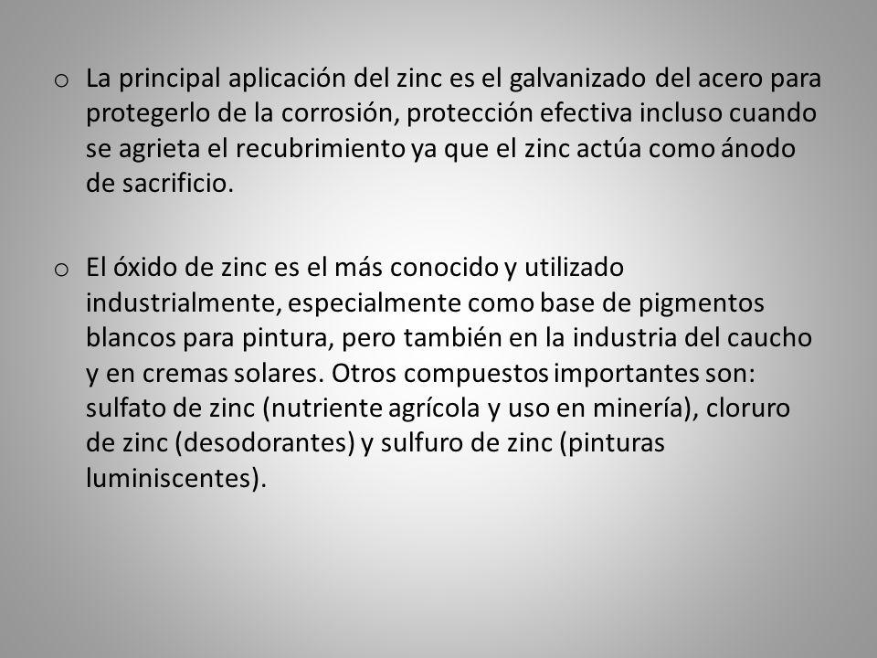 La principal aplicación del zinc es el galvanizado del acero para protegerlo de la corrosión, protección efectiva incluso cuando se agrieta el recubrimiento ya que el zinc actúa como ánodo de sacrificio.