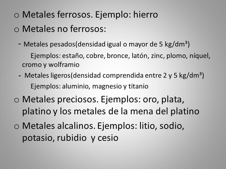 Metales ferrosos. Ejemplo: hierro Metales no ferrosos: