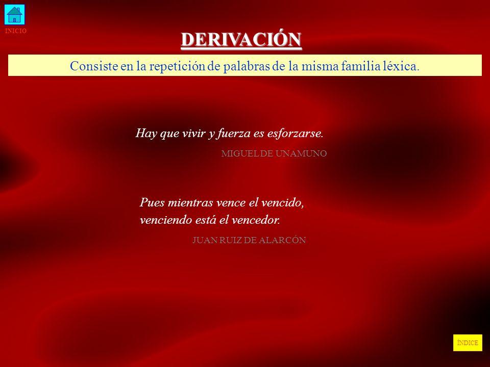 Consiste en la repetición de palabras de la misma familia léxica.