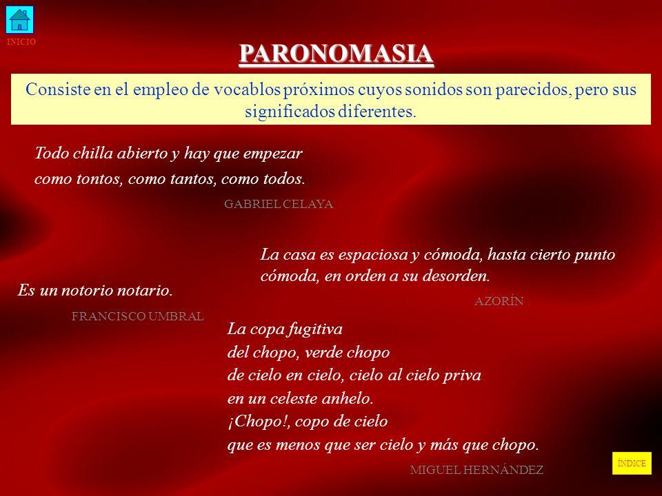 INICIO PARONOMASIA. Consiste en el empleo de vocablos próximos cuyos sonidos son parecidos, pero sus significados diferentes.