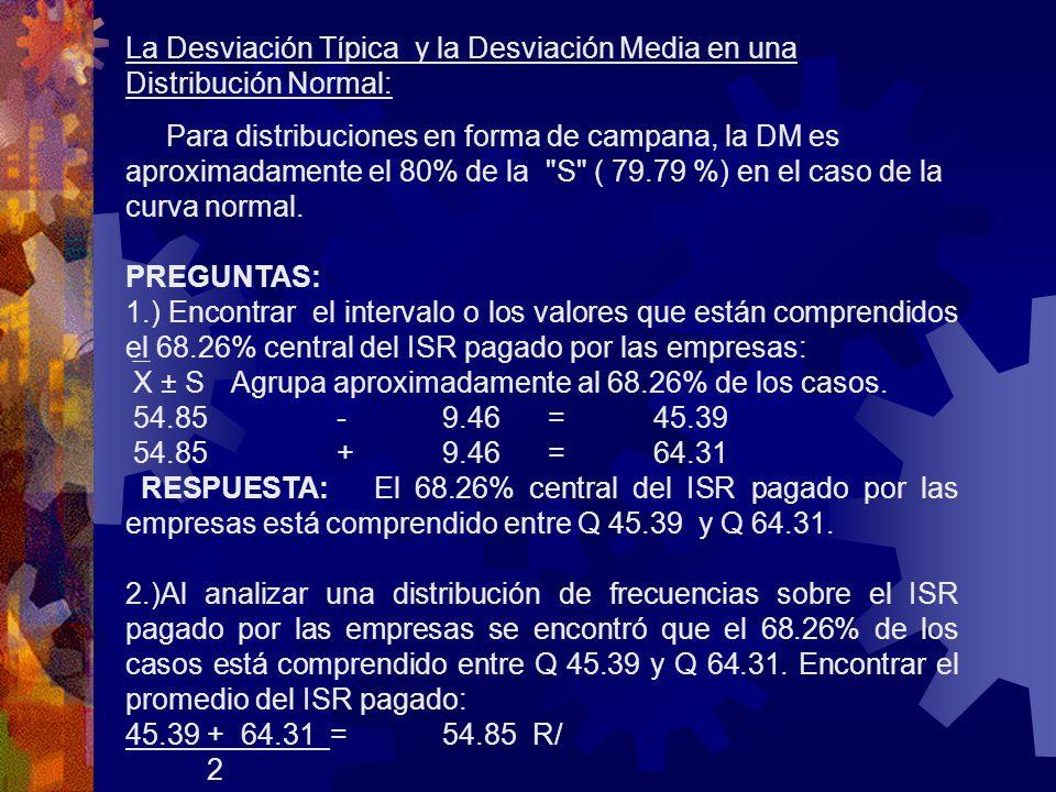 La Desviación Típica y la Desviación Media en una Distribución Normal: