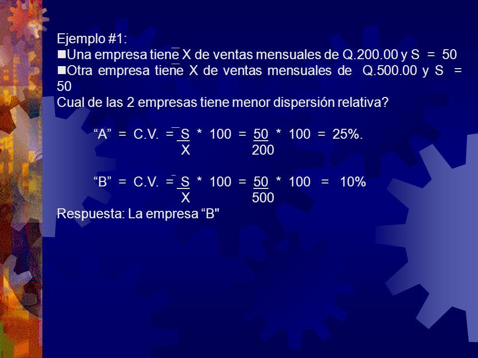 Ejemplo #1:nUna empresa tiene X de ventas mensuales de Q.200.00 y S = 50. nOtra empresa tiene X de ventas mensuales de Q.500.00 y S = 50.
