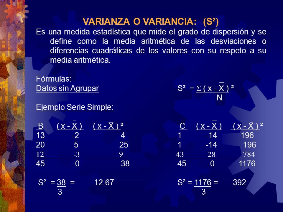 VARIANZA O VARIANCIA: (S²)
