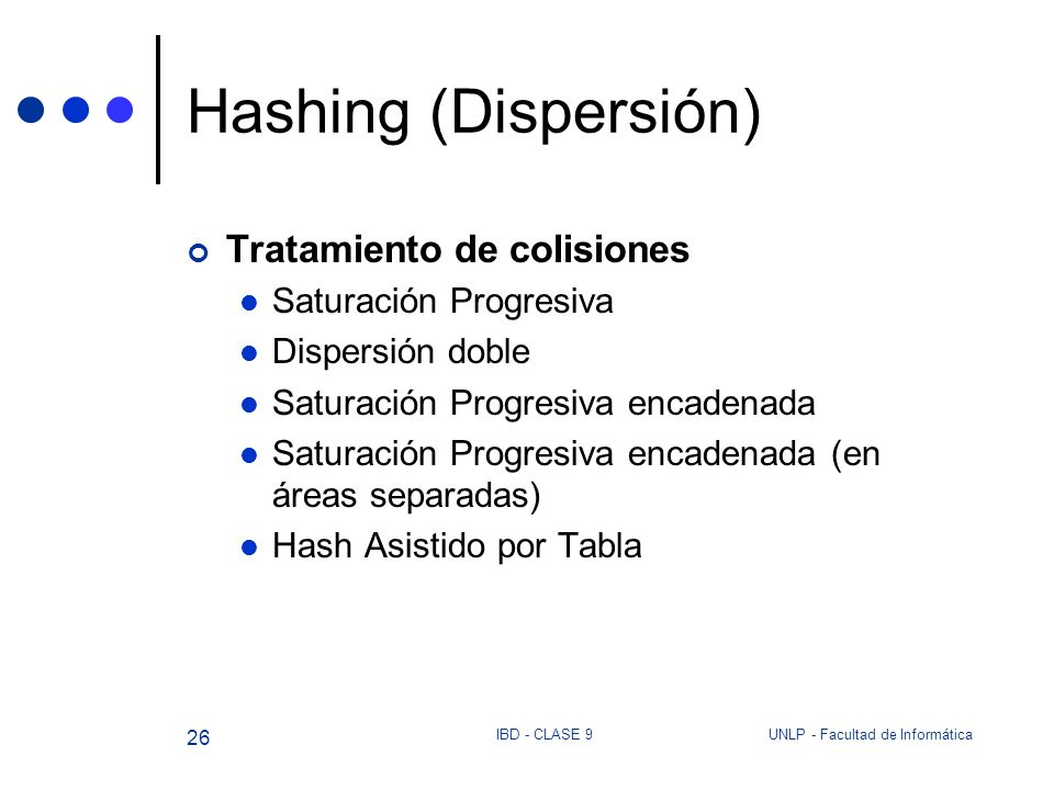 Hashing (Dispersión) Tratamiento de colisiones Saturación Progresiva