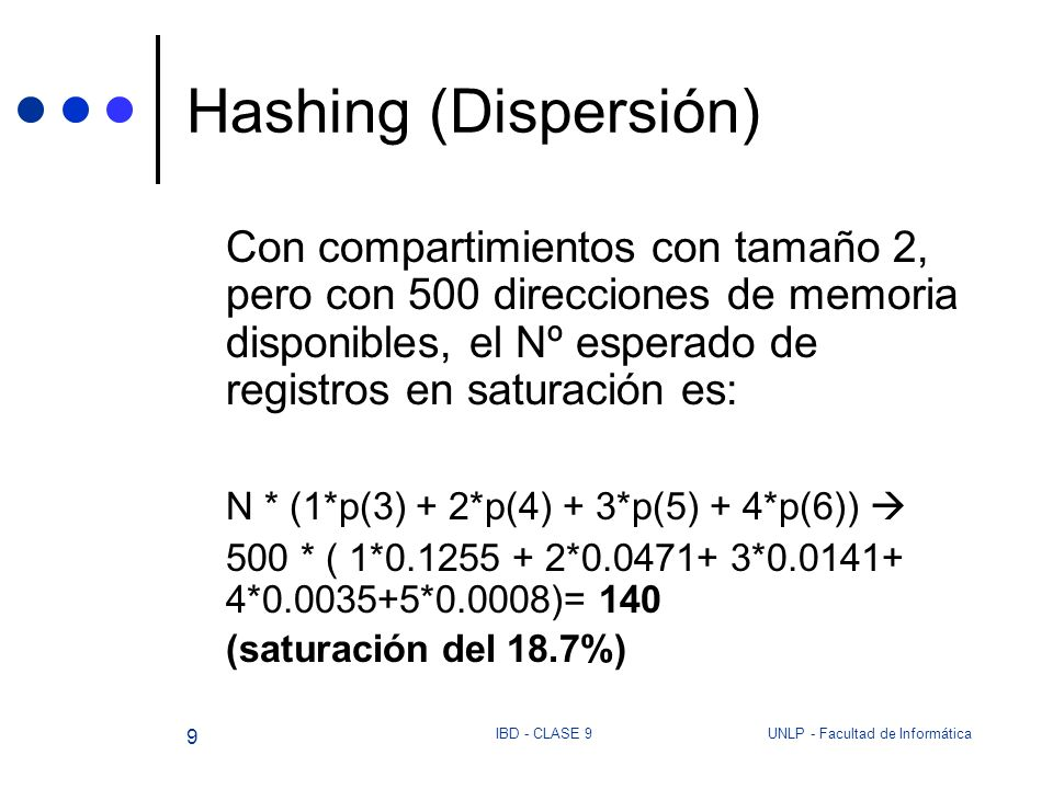 Hashing (Dispersión)Con compartimientos con tamaño 2, pero con 500 direcciones de memoria disponibles, el Nº esperado de registros en saturación es: