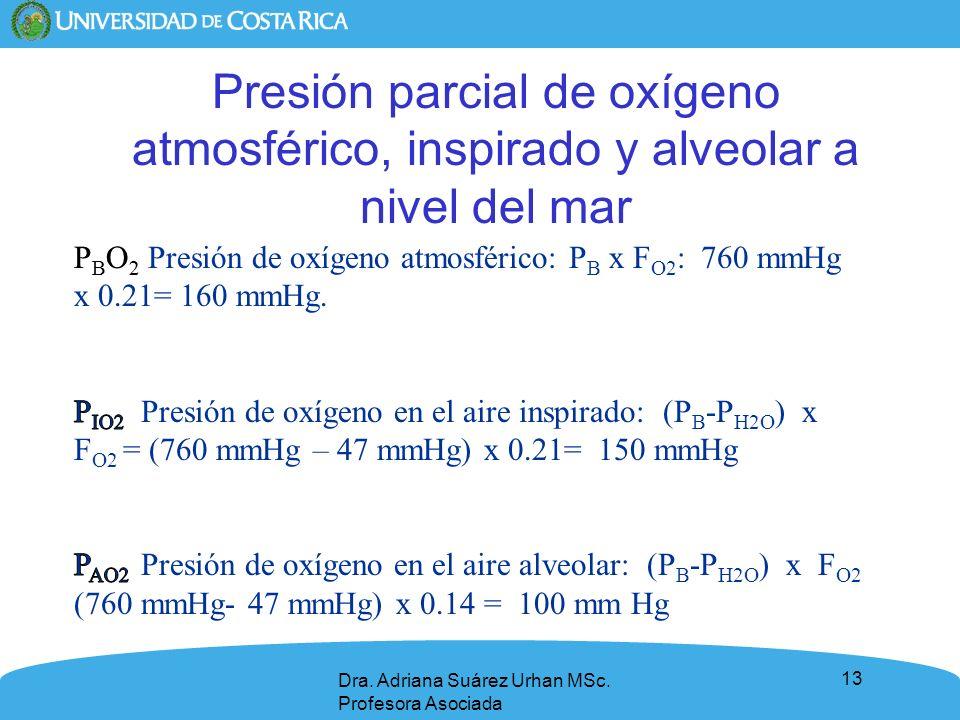 Presión parcial de oxígeno atmosférico, inspirado y alveolar a nivel del mar