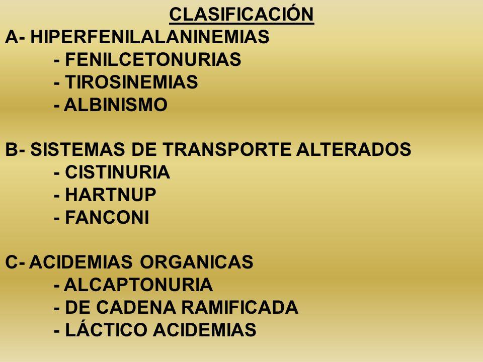 CLASIFICACIÓNA- HIPERFENILALANINEMIAS. - FENILCETONURIAS. - TIROSINEMIAS. - ALBINISMO. B- SISTEMAS DE TRANSPORTE ALTERADOS.