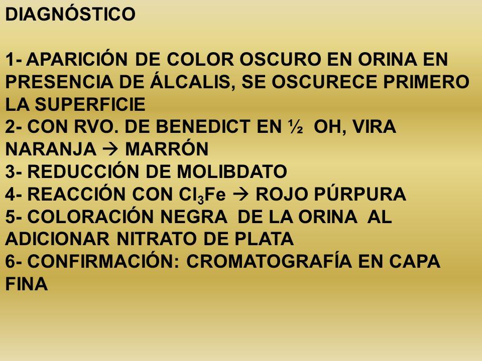 DIAGNÓSTICO1- APARICIÓN DE COLOR OSCURO EN ORINA EN PRESENCIA DE ÁLCALIS, SE OSCURECE PRIMERO LA SUPERFICIE.