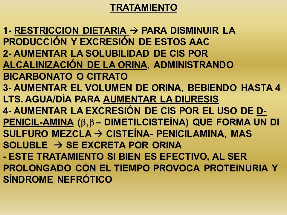 TRATAMIENTO1- RESTRICCION DIETARIA  PARA DISMINUIR LA PRODUCCIÓN Y EXCRESIÓN DE ESTOS AAC.