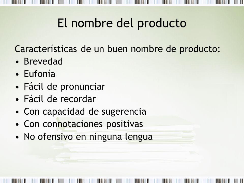 El nombre del producto Características de un buen nombre de producto: