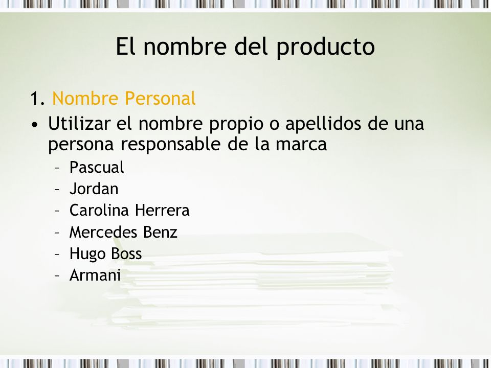 El nombre del producto 1. Nombre Personal