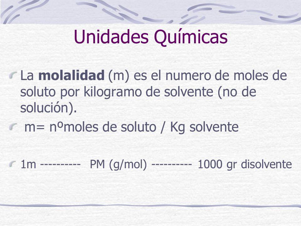 Unidades Químicas La molalidad (m) es el numero de moles de soluto por kilogramo de solvente (no de solución).