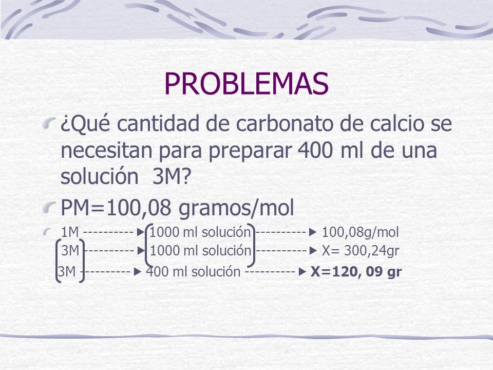 PROBLEMAS ¿Qué cantidad de carbonato de calcio se necesitan para preparar 400 ml de una solución 3M