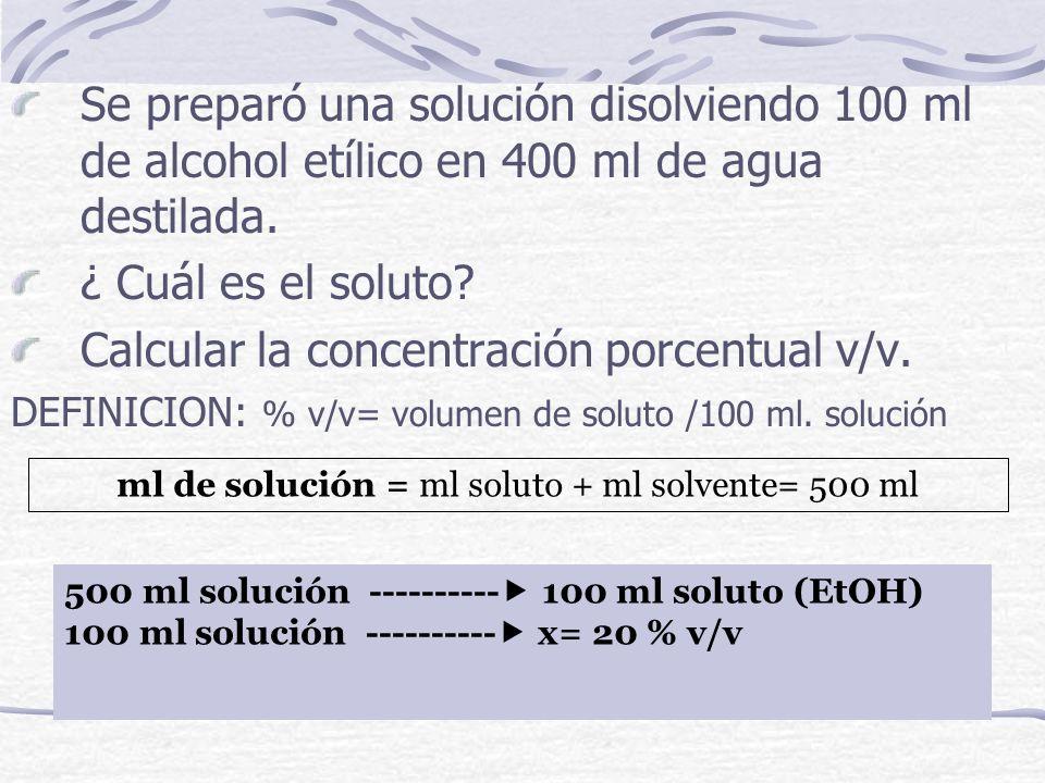 ml de solución = ml soluto + ml solvente= 500 ml