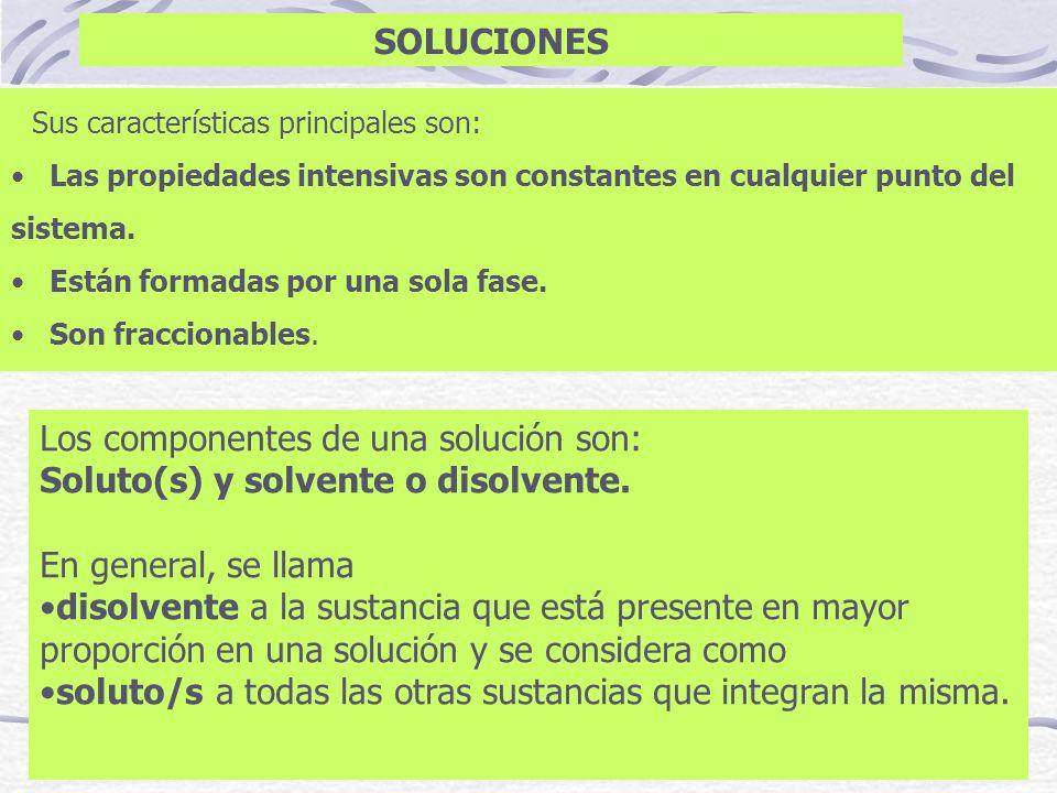 Los componentes de una solución son: