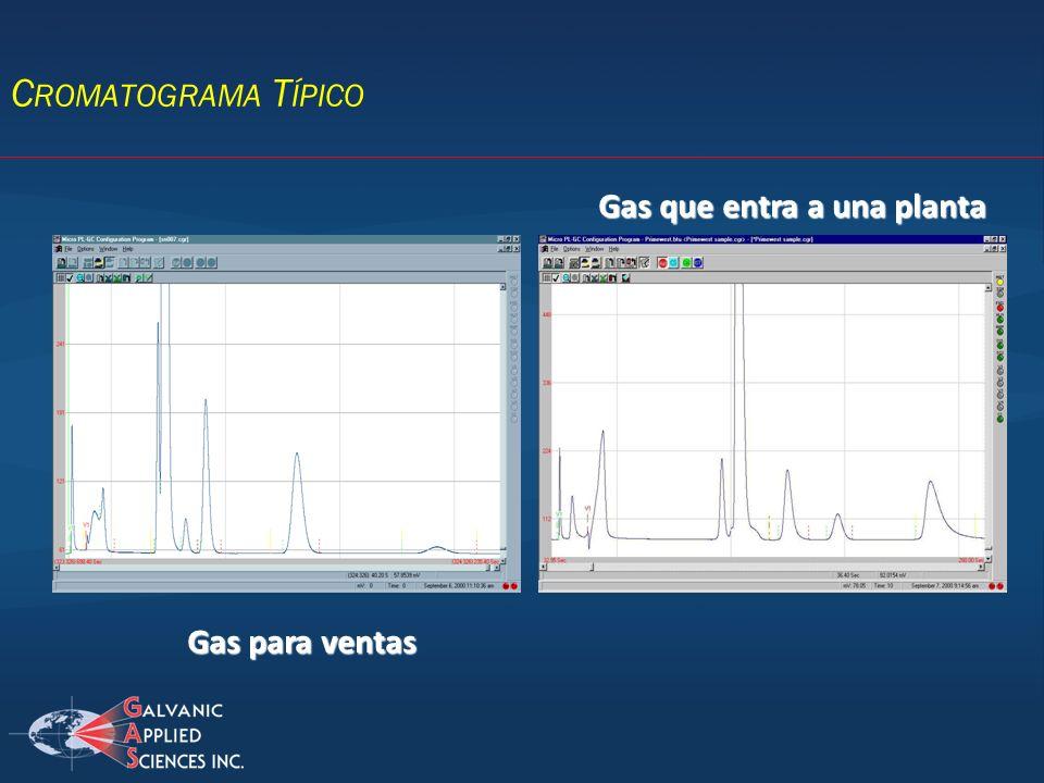 Cromatograma Típico Gas que entra a una planta Gas para ventas