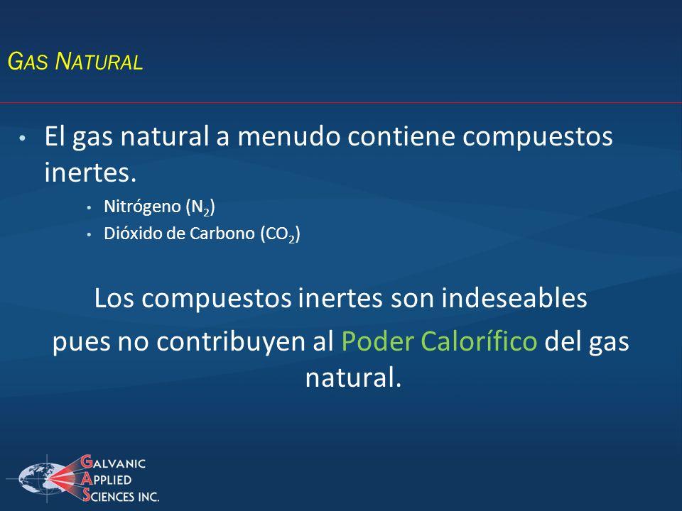 El gas natural a menudo contiene compuestos inertes.