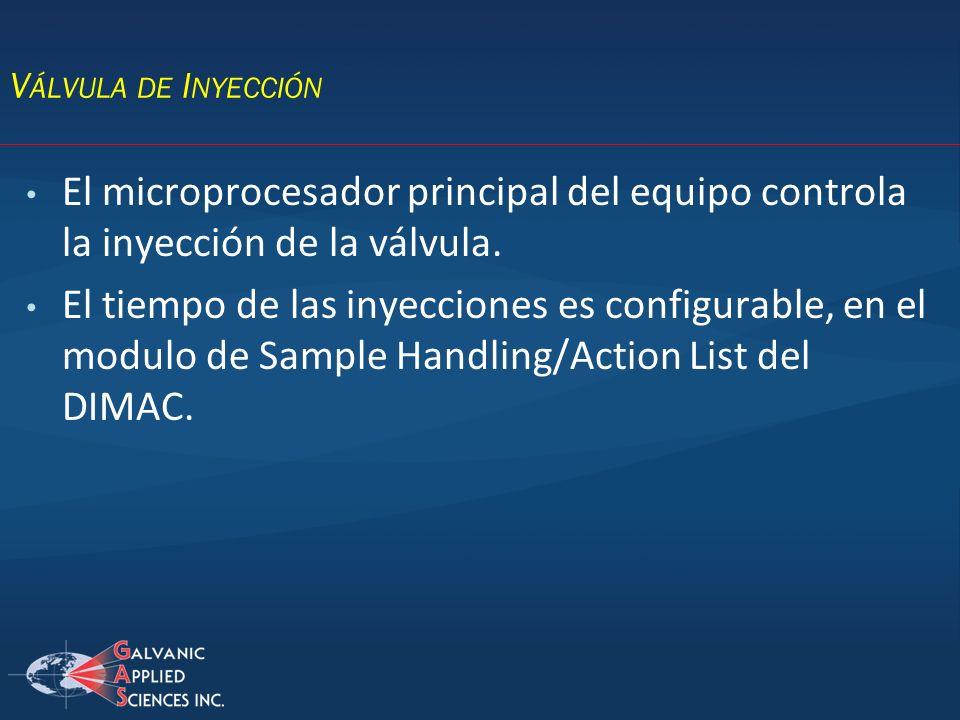 Válvula de Inyección El microprocesador principal del equipo controla la inyección de la válvula.