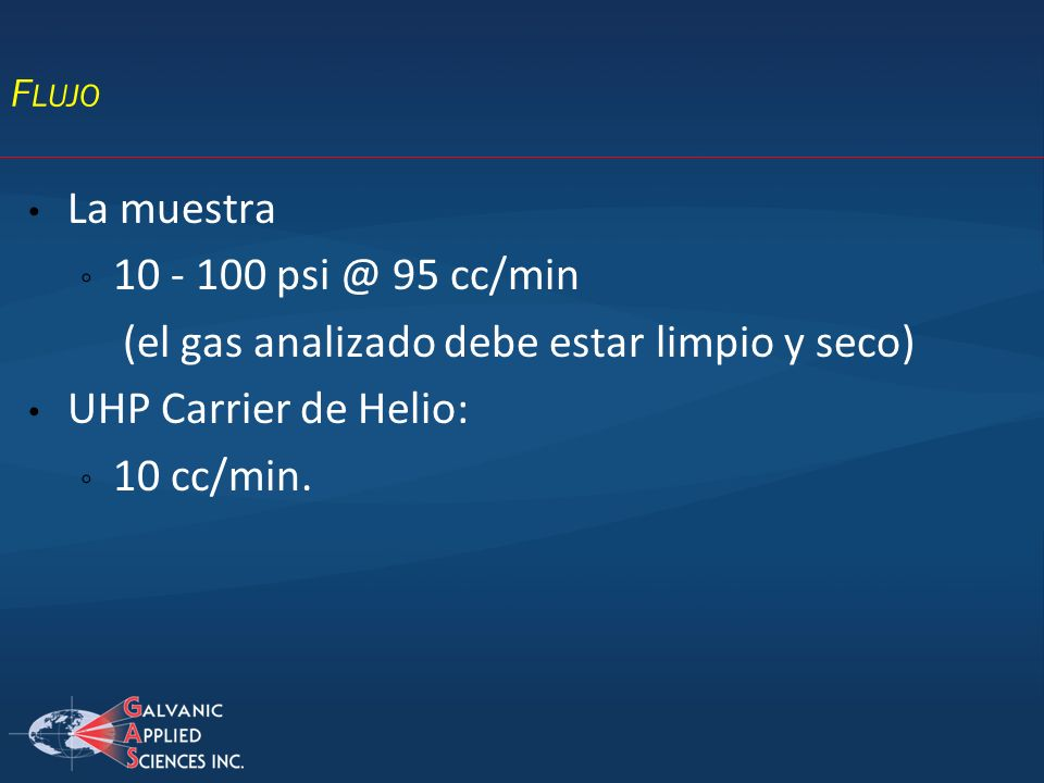 (el gas analizado debe estar limpio y seco) UHP Carrier de Helio: