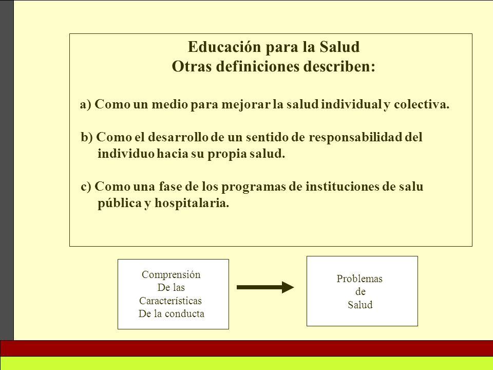 Educación para la Salud Otras definiciones describen: