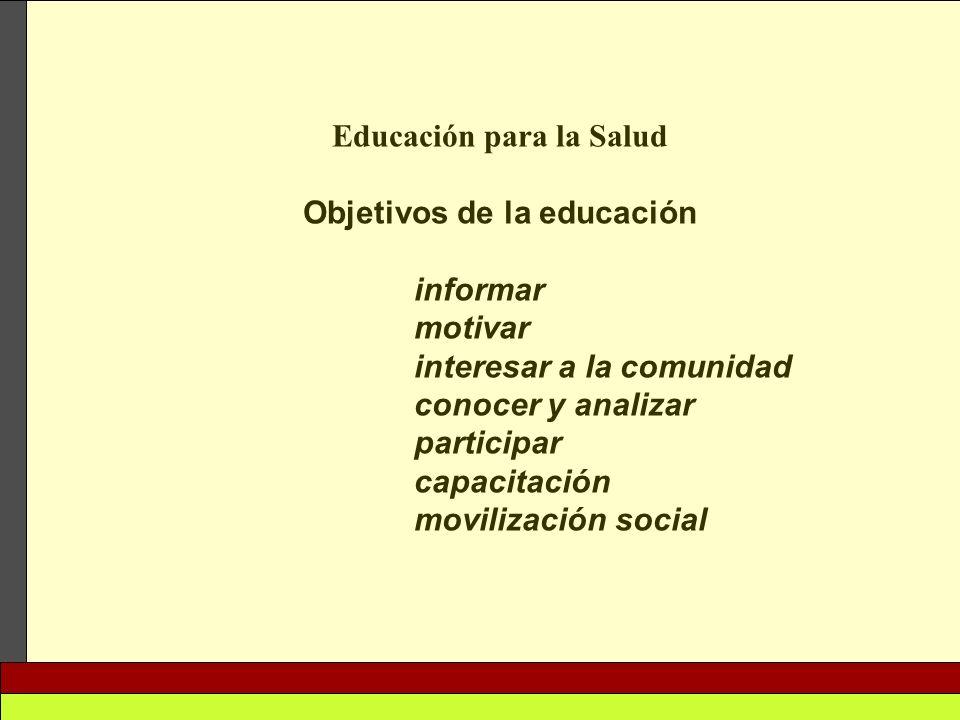 Educación para la Salud Objetivos de la educación