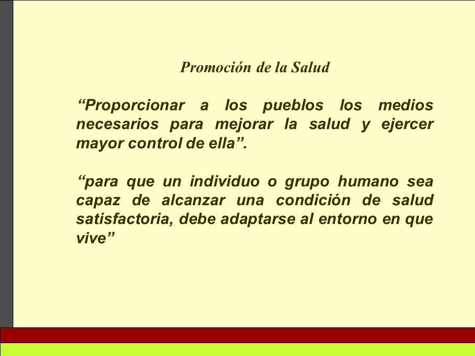 Promoción de la Salud Proporcionar a los pueblos los medios necesarios para mejorar la salud y ejercer mayor control de ella .