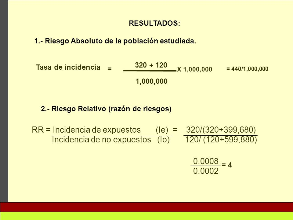 RR = Incidencia de expuestos (Ie) = 320/(320+399,680)