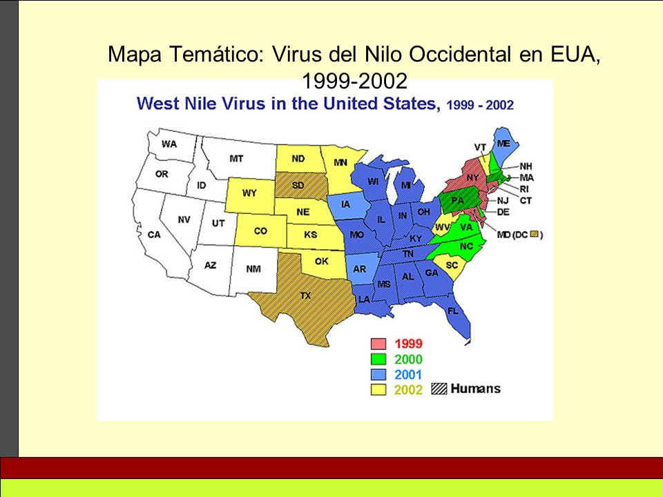 Mapa Temático: Virus del Nilo Occidental en EUA, 1999-2002