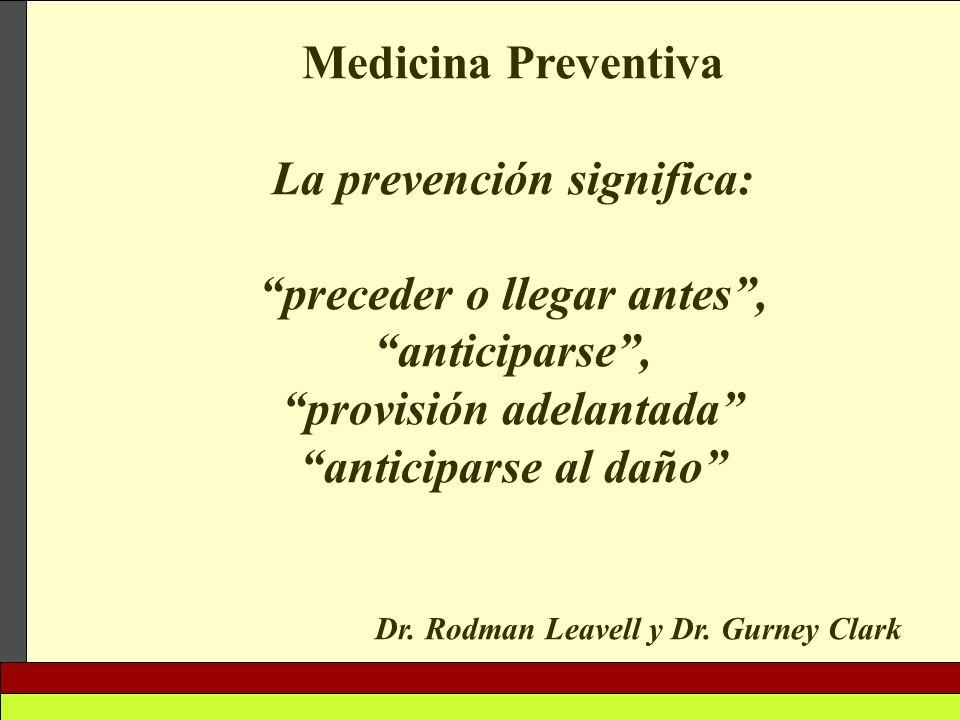 La prevención significa: preceder o llegar antes , anticiparse ,