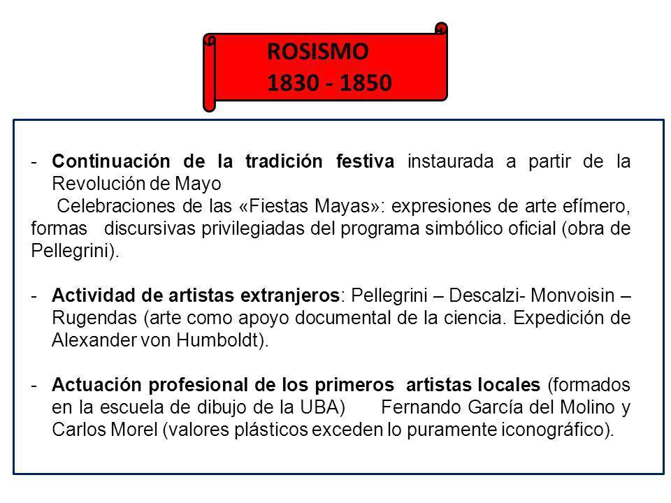 ROSISMO 1830 - 1850. Continuación de la tradición festiva instaurada a partir de la Revolución de Mayo.