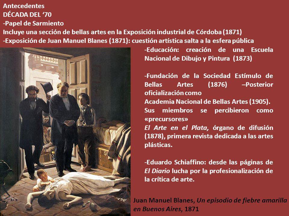 Antecedentes DÉCADA DEL '70. -Papel de Sarmiento. Incluye una sección de bellas artes en la Exposición industrial de Córdoba (1871)