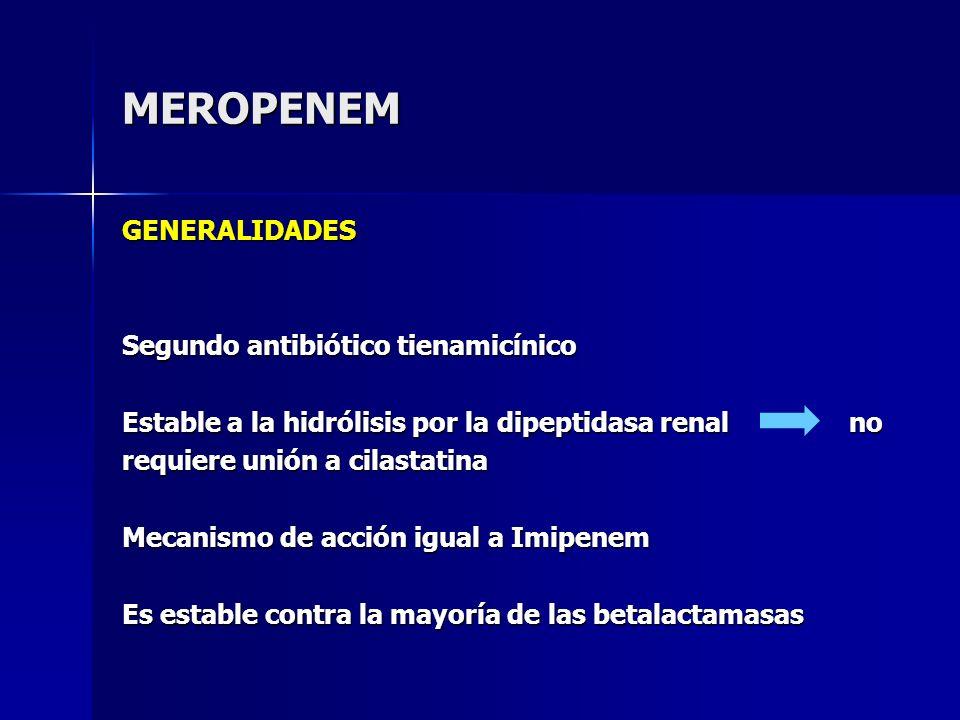 MEROPENEM GENERALIDADES Segundo antibiótico tienamicínico