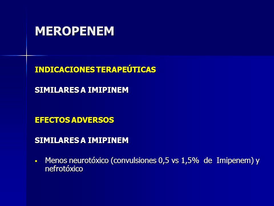 MEROPENEM INDICACIONES TERAPEÚTICAS SIMILARES A IMIPINEM
