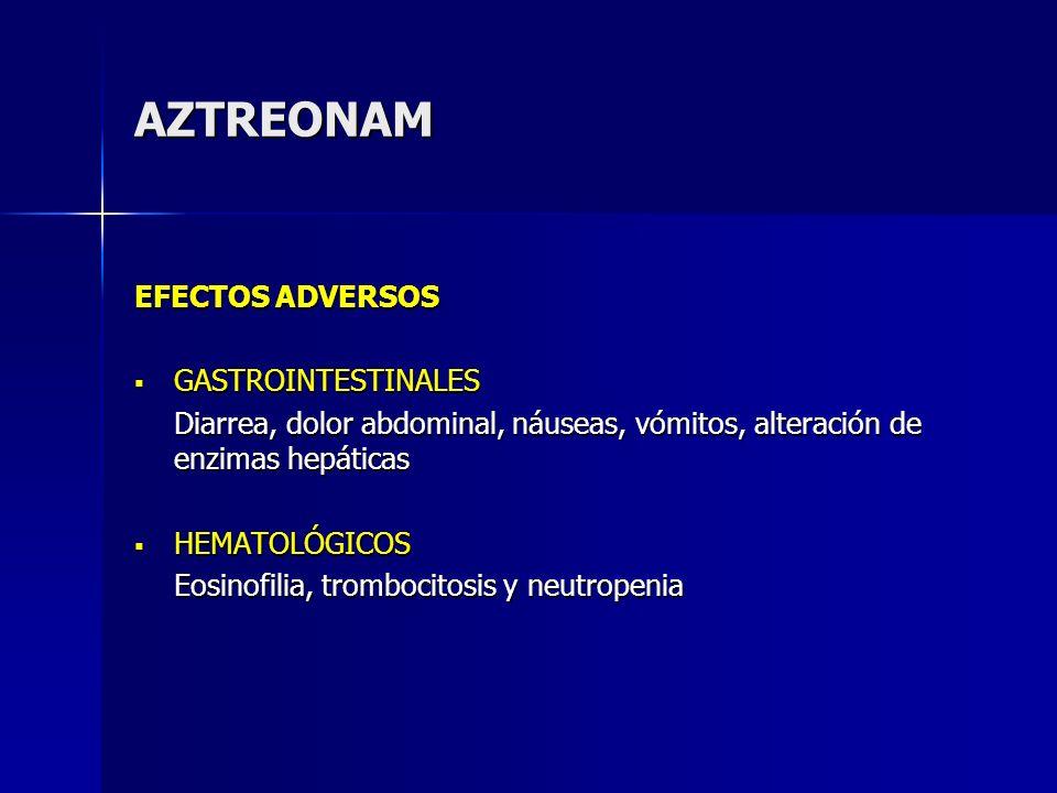 AZTREONAM EFECTOS ADVERSOS GASTROINTESTINALES