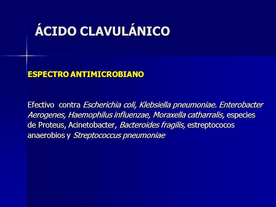 ÁCIDO CLAVULÁNICO ESPECTRO ANTIMICROBIANO