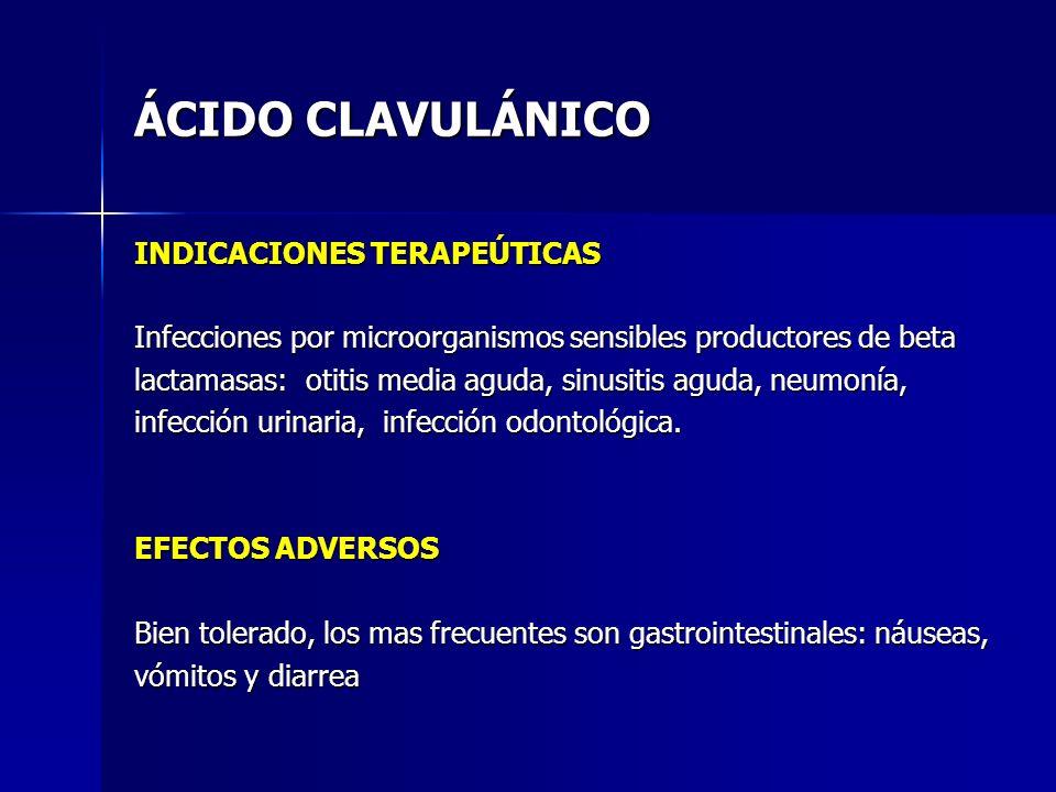 ÁCIDO CLAVULÁNICO INDICACIONES TERAPEÚTICAS