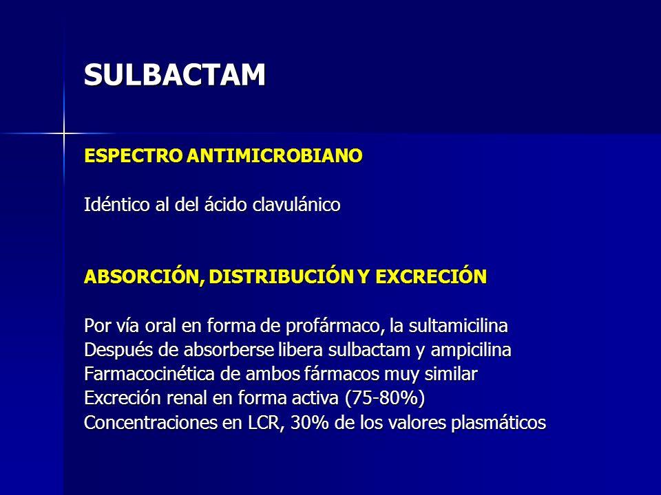 SULBACTAM ESPECTRO ANTIMICROBIANO Idéntico al del ácido clavulánico