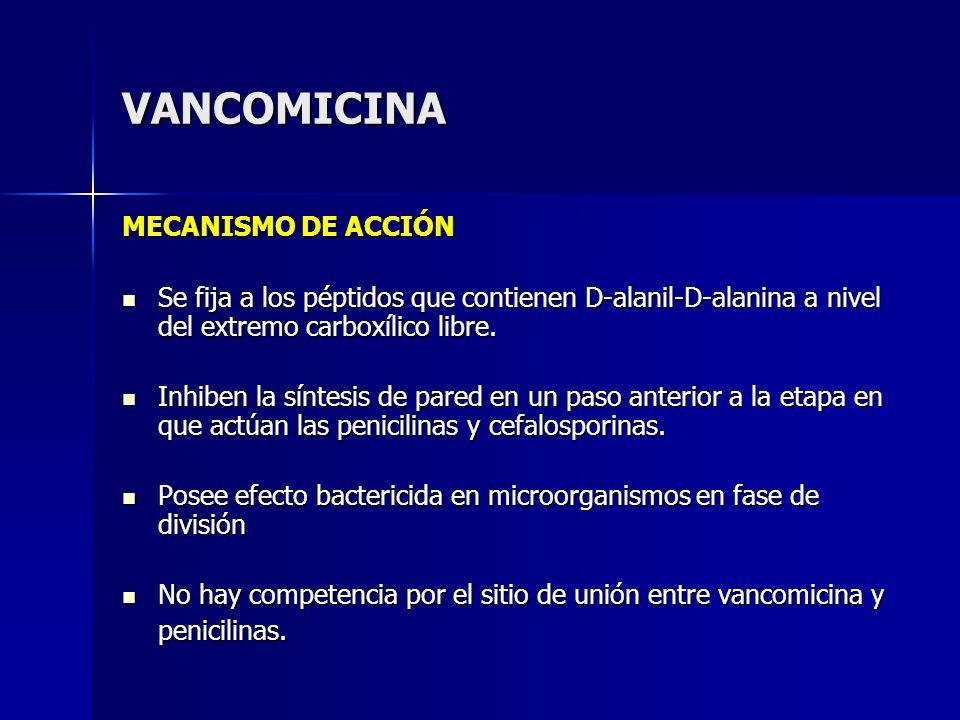 VANCOMICINA MECANISMO DE ACCIÓN