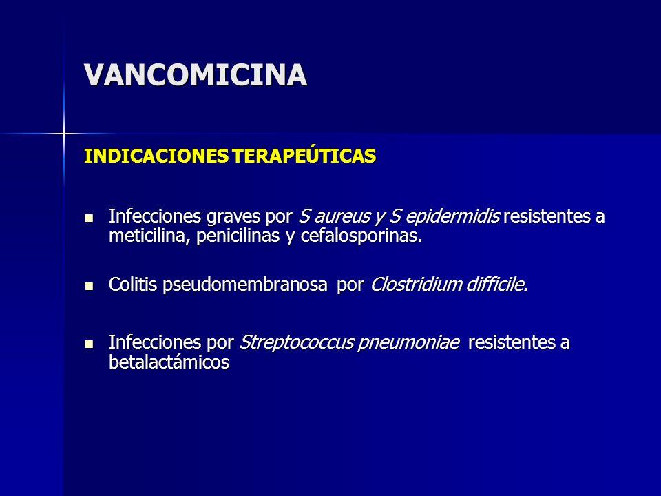 VANCOMICINA INDICACIONES TERAPEÚTICAS