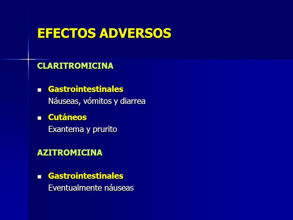 EFECTOS ADVERSOS CLARITROMICINA Gastrointestinales