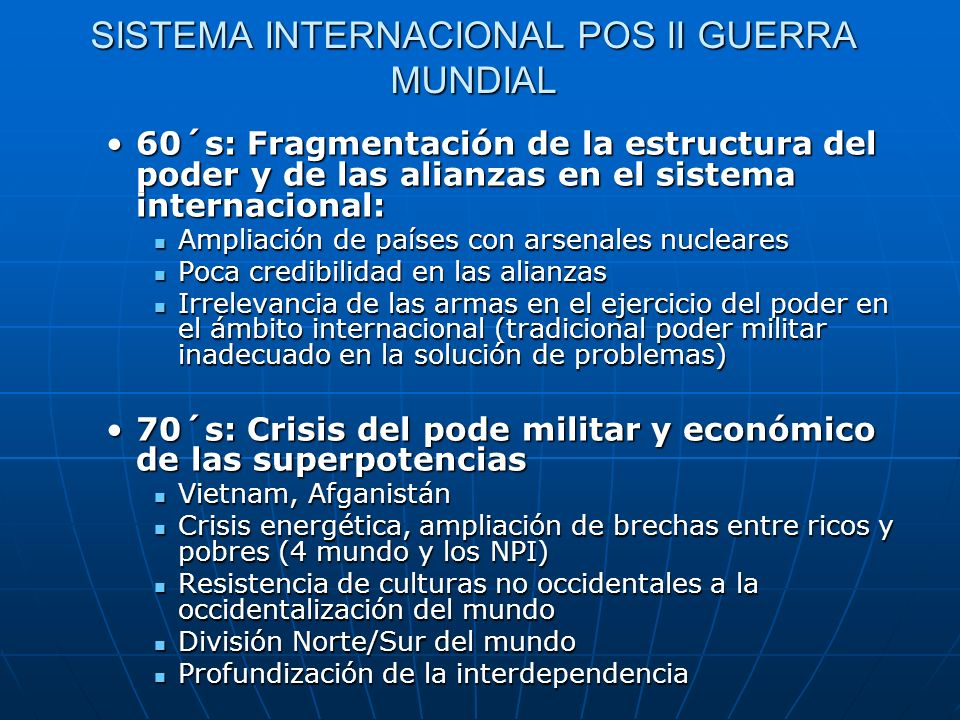 SISTEMA INTERNACIONAL POS II GUERRA MUNDIAL