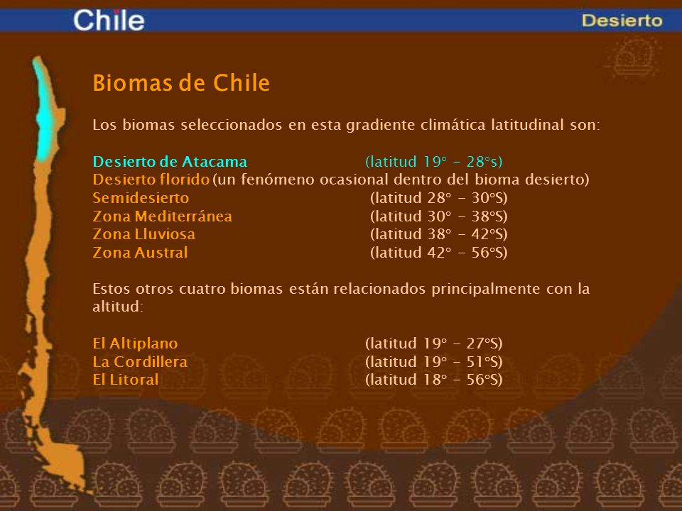 Biomas de ChileLos biomas seleccionados en esta gradiente climática latitudinal son: Desierto de Atacama (latitud 19° - 28°s)