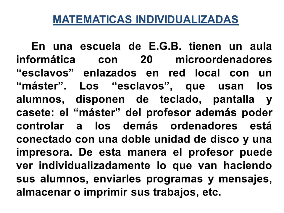 MATEMATICAS INDIVIDUALIZADAS