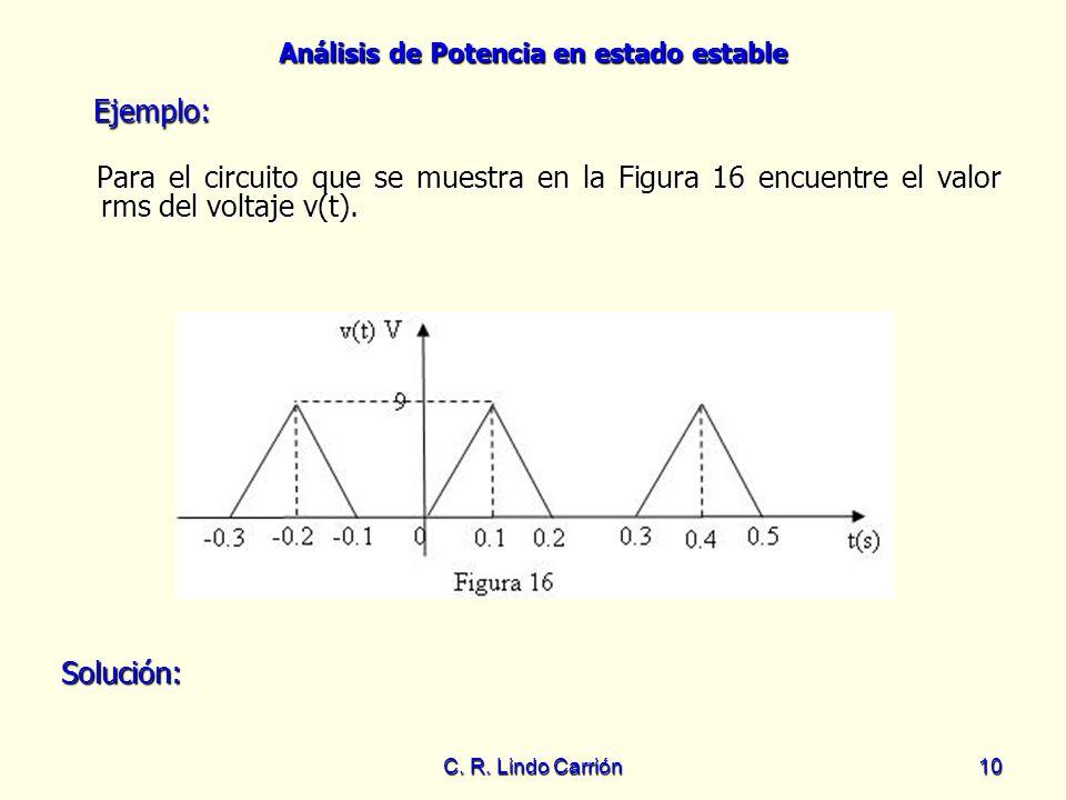Ejemplo: Para el circuito que se muestra en la Figura 16 encuentre el valor rms del voltaje v(t). Solución: