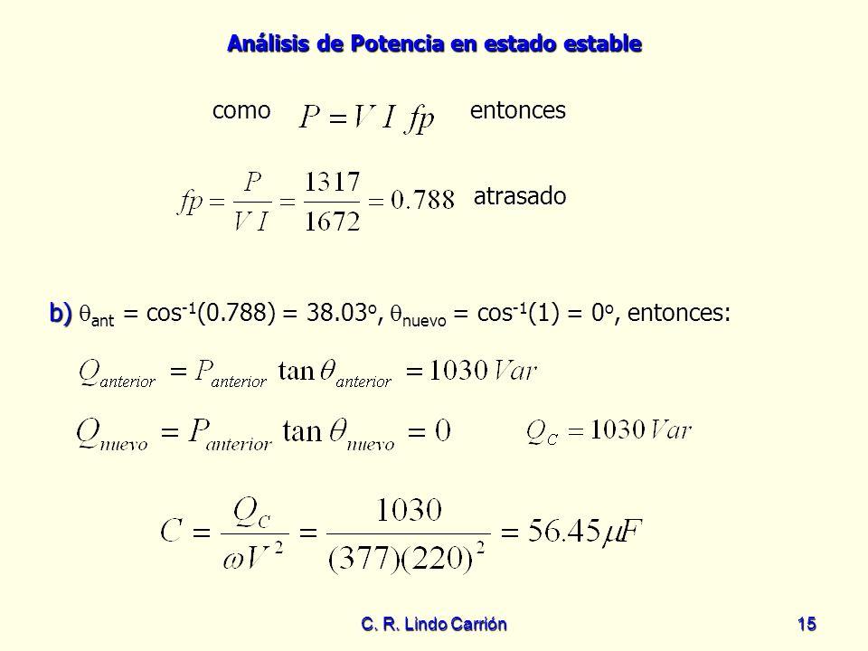 b) ant = cos-1(0.788) = 38.03o, nuevo = cos-1(1) = 0o, entonces: