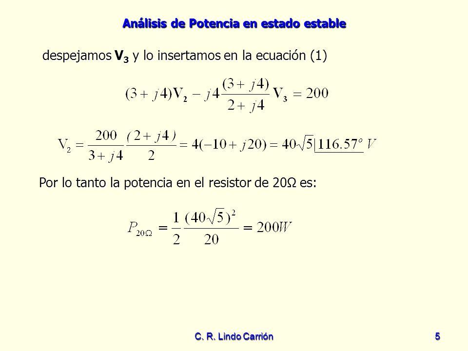 despejamos V3 y lo insertamos en la ecuación (1)